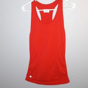 Athleta Bright Red Ruched Workout Racerback Tank